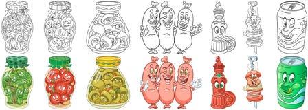 Ensemble fait maison et de pique-nique de nourriture illustration libre de droits
