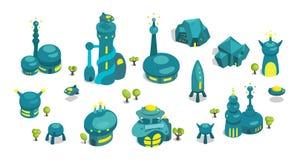 Ensemble fantastique d'architecture de bâtiments dans la vue isométrique illustration de vecteur