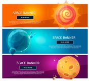 Ensemble fantsy créatif de bannière de planètes illustration stock
