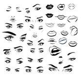Ensemble femelle de collection d'image de yeux et de lèvres de femme Conception de yeux de fille de mode Illustration de vecteur illustration de vecteur