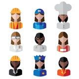 Ensemble femelle multiculturel d'icône de professions Photos stock