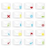 Ensemble fermé blanc d'icône de vingt enveloppes Photo libre de droits