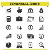 Ensemble financier de vecteur d'icônes Image libre de droits