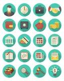 Ensemble financier et d'affaires d'icônes de turquoise Images stock