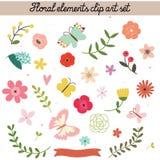 Ensemble floral de clipart (images graphiques) d'éléments Photos libres de droits