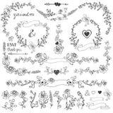 Ensemble floral de décor de griffonnages Frontières, coin, éléments Photographie stock libre de droits