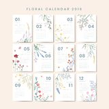 Ensemble floral de vecteur du calendrier 2019 illustration de vecteur