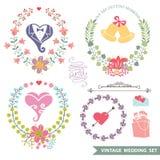 Ensemble floral de vintage avec des articles de mariage Image stock