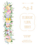 Ensemble floral en pastel de frontière Frontière florale de floraison décorative Illustration de vecteur illustration stock