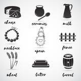 Ensemble folklorique d'icône de vecteur Images libres de droits