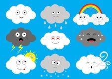 Ensemble foncé blanc d'icône d'emoji de nuage Nuages pelucheux Sun, arc-en-ciel, baisse de pluie, vent, coup de foudre, foudre de Photos libres de droits