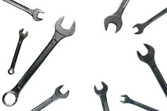 Ensemble fonctionnant isolé par clé en métal de fond blanc d'outils de réparation Image libre de droits