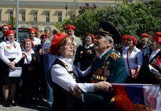 Ensemble of the front song `Search` in the square at the Bolshoi Theater on Victory Day. MOSCOW, RUSSIA MAY 9, 2018: Ensemble of the front song `Search` in the Stock Image