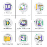 Ensemble futé d'icône de production d'automation industrielle de machines, ressources Fab Lab Collection de technologie de l'impr illustration libre de droits