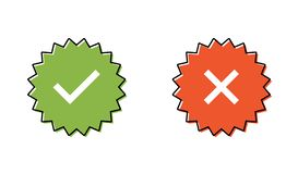 Ensemble garanti de timbre ou insigne vérifié Timbre vérifié d'icône illustration stock