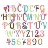 Ensemble Girly de vecteur d'alphabet Image libre de droits