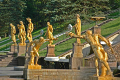 Ensemble of Grand Cascade in Petrodvorets. (Peterhof) St. Petersburg, Russia Stock Photo