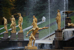 Ensemble of Grand Cascade in Petrodvorets Stock Photo