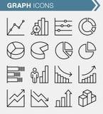 Ensemble graphes linéaires mince et d'icônes de diagrammes Photo libre de droits