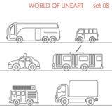 Ensemble graphique aérien de lineart d'autobus de chariot à route de transport de schéma Images libres de droits