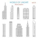 Ensemble graphique de vecteur de lineart de gratte-ciel de ville d'architecture illustration de vecteur