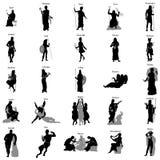 Ensemble grec de silhouette de dieux Photographie stock