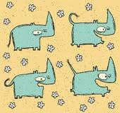 Ensemble grunge tiré par la main d'illustration de quatre rhinocéros et flowe mignons Photos stock