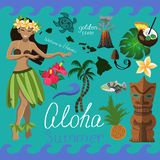 Ensemble hawaïen d'été d'éléments illustration stock