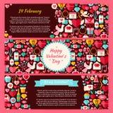 Ensemble heureux d'appartement de Valentine Day Vector Horizontal Banners illustration de vecteur