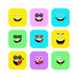 Ensemble heureux d'icônes d'Emojis Émoticônes au jour de sourire du monde Gai, Lol, appréciant des visages La couleur sourit pour illustration stock