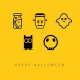 Ensemble heureux d'icône de Halloween Images libres de droits