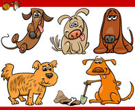 Ensemble heureux d'illustration de bande dessinée de chiens Photo stock