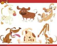 Ensemble heureux d'illustration de bande dessinée de chiens Photos libres de droits