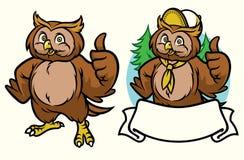 Ensemble heureux de bande dessinée de hibou illustration libre de droits