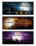 Ensemble heureux de bannière de jour de Halloween Photo libre de droits