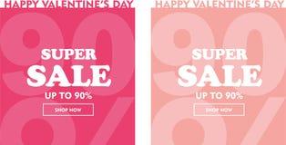 Ensemble heureux de bannière de vente de valentines Jusqu'à 90% illustration stock