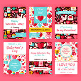 Ensemble heureux de calibre de Valentine Day Flat Vector Invitation Images libres de droits