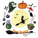 Ensemble heureux de graphique de Halloween Collection de Halloween, attribu de sorcière illustration de vecteur