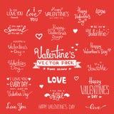 Ensemble heureux de lettrage de main de Saint-Valentin Image libre de droits