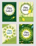 Ensemble heureux de Sukkot d'insectes ou d'affiches Collection de Sukkot de calibres illustration stock