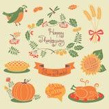 Ensemble heureux de thanksgiving d'éléments pour la conception Images libres de droits