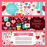 Ensemble heureux de Valentine Day Vector Template Banners illustration de vecteur