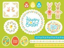 Ensemble heureux de vecteur de Pâques avec les oeufs colorés pour la carte de voeux, annonce, promotion, affiche, insecte, Web-ba illustration stock