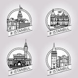 Ensemble historique d'insigne de bâtiment d'Istanbul de vecteur image libre de droits