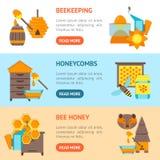 Ensemble horizontal de bannière d'abeille de bande dessinée Vecteur Images stock