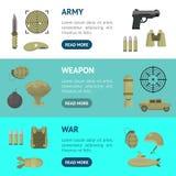 Ensemble horizontal de bannière d'armes d'armée de couleur de bande dessinée Vecteur illustration de vecteur