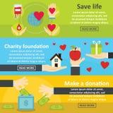 Ensemble horizontal de bannière de donation de charité, style plat Photos stock