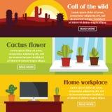 Ensemble horizontal de bannière de l'espace de cactus, style plat Images stock