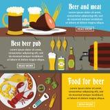 Ensemble horizontal de bannière de nourriture de bar de bière, style plat Photo libre de droits