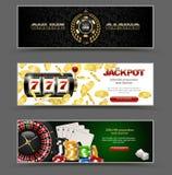 Ensemble horizontal de luxe de bannière de Web de tisonnier de VIP Ébréchez le concept d'or de logo de casino de vecteur de pile  Photographie stock
